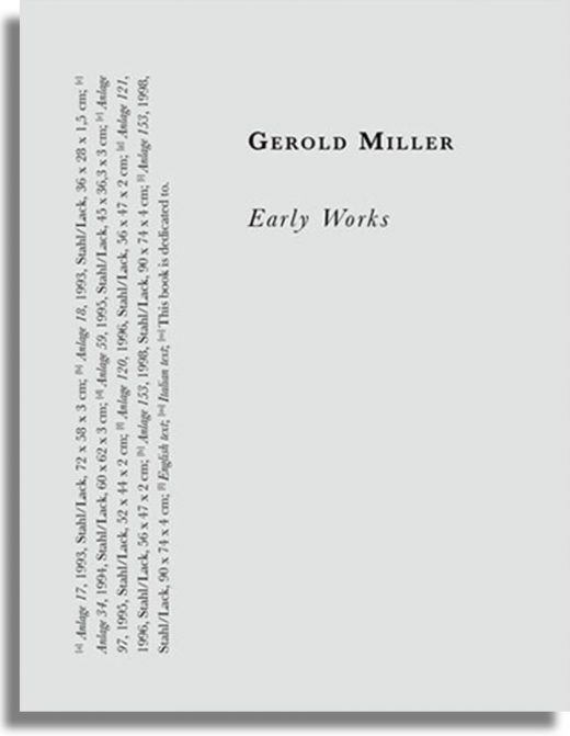 Gerold Miller. Early Works